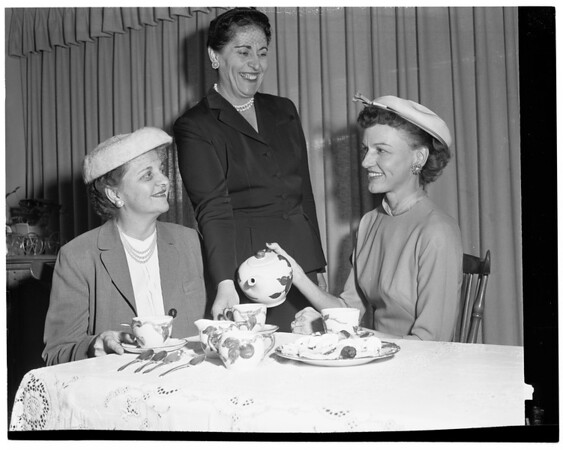 White Auxiliary Children Home Society plan tea, 1957