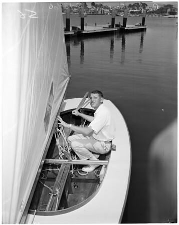 Finn Monotype one-man sail boat, 1960