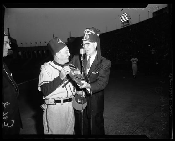 Baseball -- Dodgers versus Braves -- Shriners presentation to Haney, 1958.