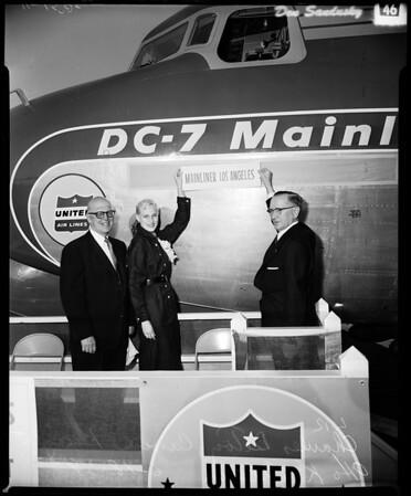 Christen new United Airline plane, 1954
