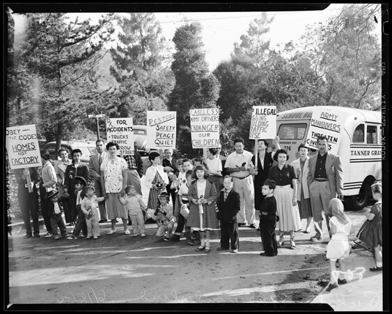 Pickets - 8900 Wonderland Avenue, 1954