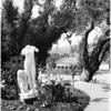 Unidentified statues at San Simeon, 1958