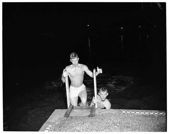Night bathing at Colorado Lagoon (Long Beach), 1952