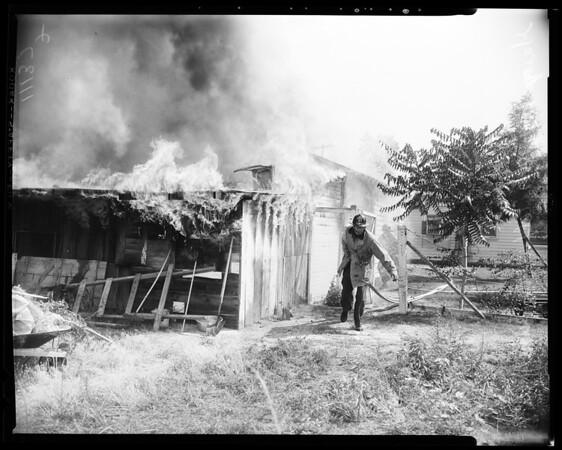 Garage fire in Sun Valley (9247 Telfair Avenue), 1954