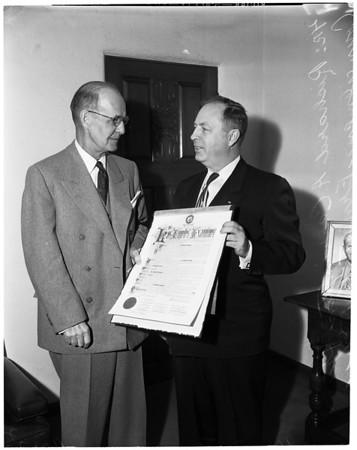 Presentation of 50th Examiner Anniversary Resolution, 1954