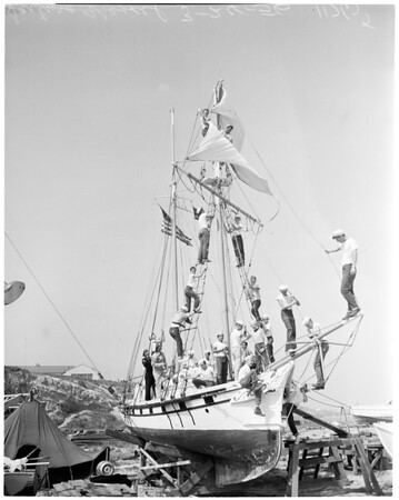 """Boy Scout Explorers on boat """"Porpoise"""", 1956"""