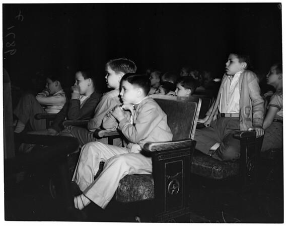"""""""Hansel and Gretel"""" Opera (at Shrine auditorium) -- children watching opera, 1953"""