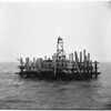 Island built for oil well site off Seal Beach, 1953