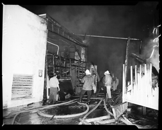Television studio fire in Hollywood, 1954