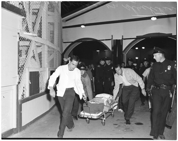 Fall from Roller Coaster in Long Beach Pike Amusement Zone, 1956