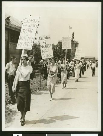 Catholic women picket Nazi Embassy, 1935