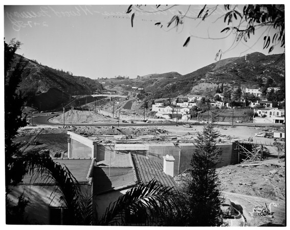 Odin street detours and underpass on new Hollywood Freeway job, 1953