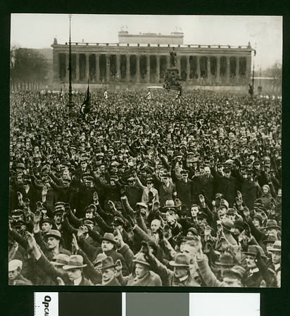 Huge throngs gathered in the Lustgarten in Berlin enjoying a political rally of the National Socialists, 1932