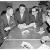 San Francisco mayor and supervisor meet Los Angeles mayor about baseball, 1957