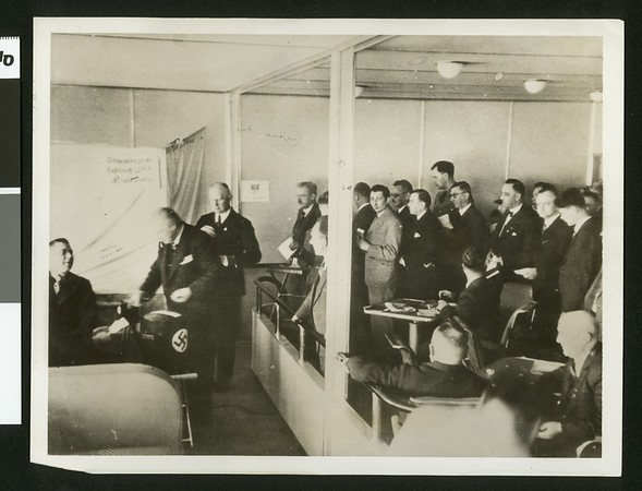 Voting in Hitler's plebiscite -- on world's largest airship, 1936