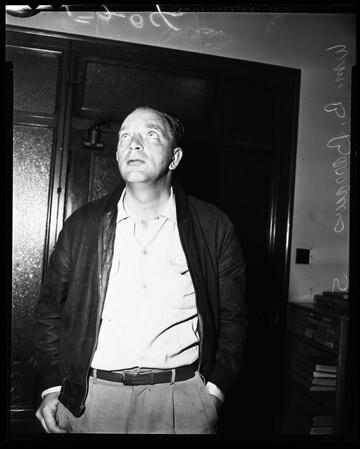 Man threatens Governor Knight, 1954