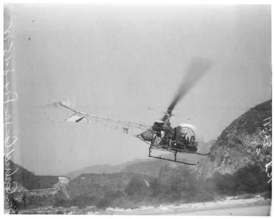 Brush fire in San Gabriel Canyon, 1955