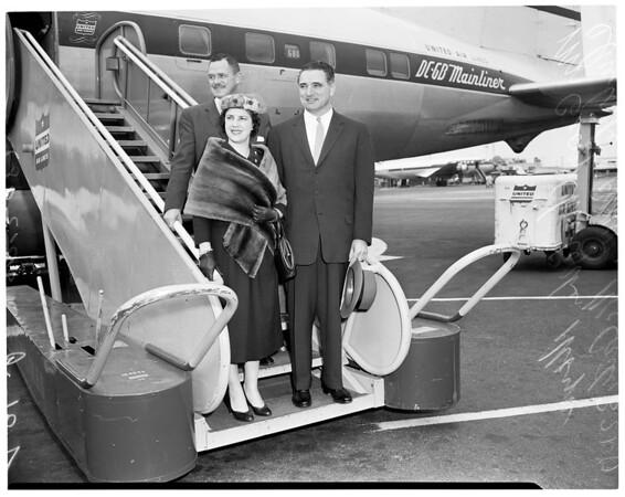 San Francisco mayor and supervisor meet Los Angeles mayor about baseball, 1957