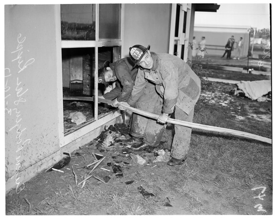 Fire at 20456 Moberly Place in Canoga Park, 1957