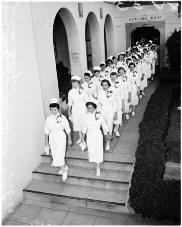 Nurse graduation at Bishop Johnson College of Nursing, 1958