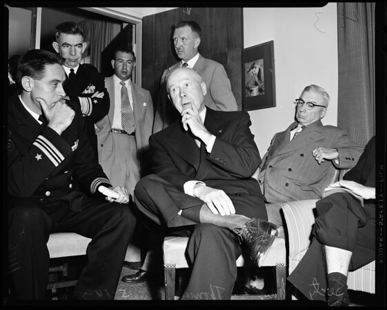 Secretary of Navy at Lafayette Hotel Press Conference in Long Beach, 1954
