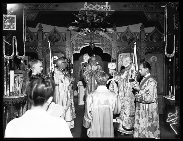 Double anniversary celebration of the Russian Orthodox Church of the Holy Virgin, 1954