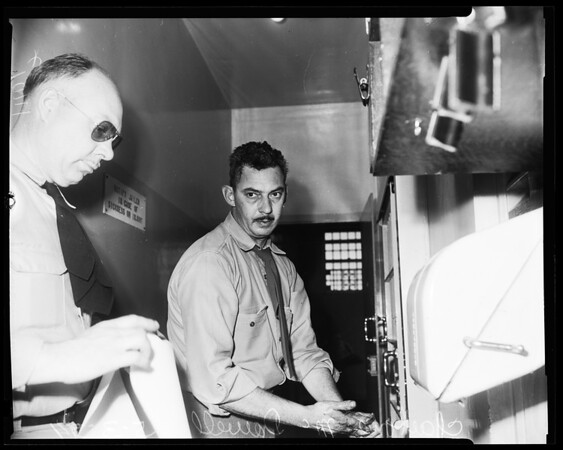 School bus driver booked on drunk driving charges Van Nuys, 1954