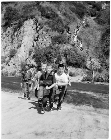 Griffith Park Boy's Camp activity for picture page, 1955