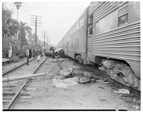 Auto vs train (Avenue 57 and Marmion Way), 1957