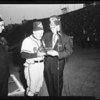Baseball -- Dodgers versus Braves -- Shriners presentation to Haney, 1958.