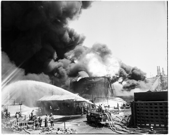 Hancock oil fire in Signal hall, 1958