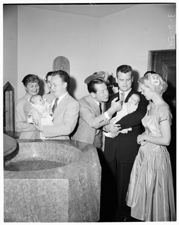 Joe E. Brown grandchildren christening, 1954
