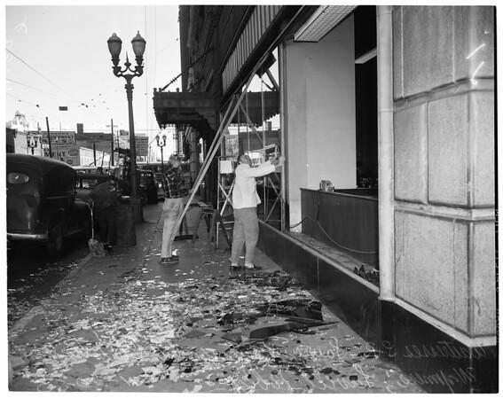 Wind breaks window (case hotel coffee shop), 1953