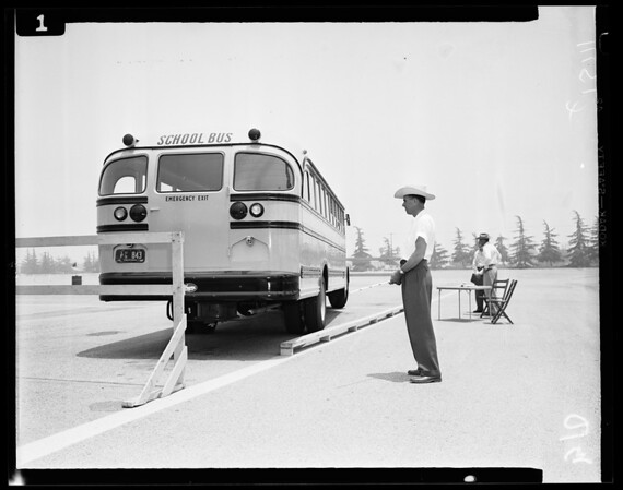 2nd Annual School Bus Rodeo on parking lots at Santa Anita Race Track in Arcadia, 1954