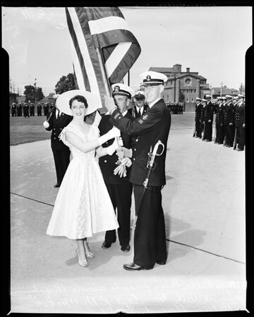 Navy ROTC at University of Southern California in parade on campus, 1954