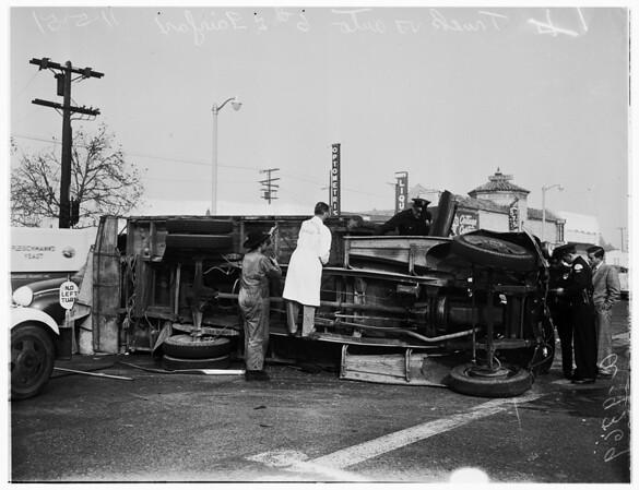 Truck versus auto (6th Street and Fairfax Avenue),  1951