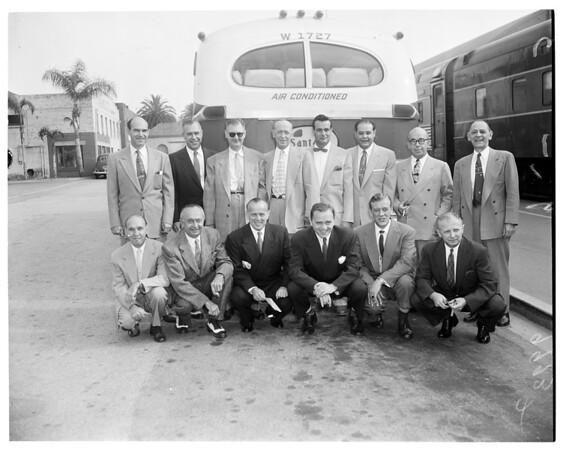 MGM executives at Pasadena Santa Fe Station, 1953