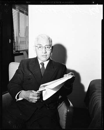 Japanese banker interview at Statler, 1954