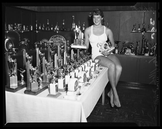 Examiner swim trophies, 1955