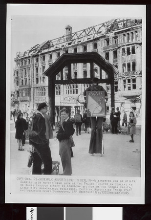 Sidewalk advertising in Berlin, 1945