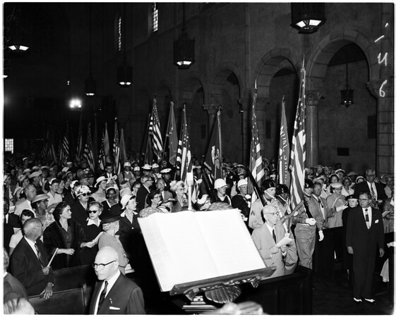 Flags at Saint Paul's Episcopal church commemorating United States war dead, 1958