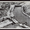 Aerial view of a wrecked bridge over the Spree River, Berlin, Germany, 1945