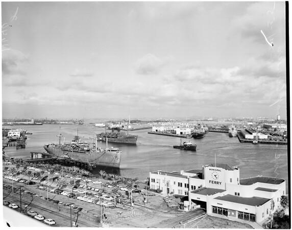 Marine commission inspection of Mothball Merchant Fleet at Los Angeles Harbor,  1955