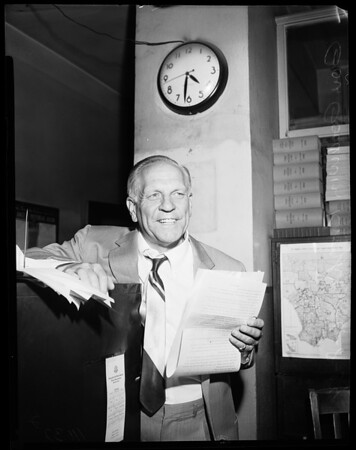 Governor Knight at the Examiner, 1954