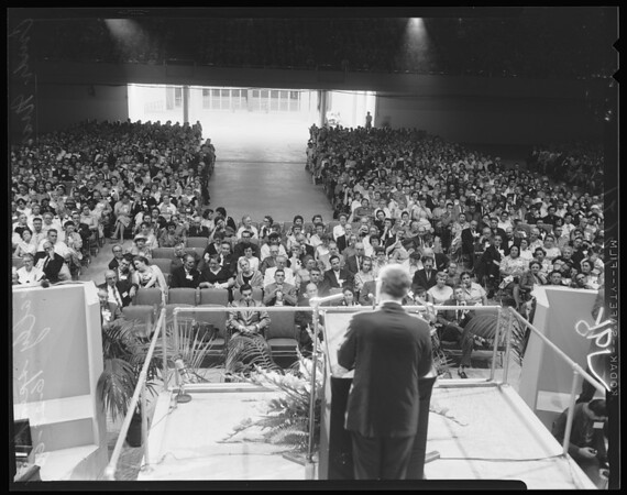 Teachers convention conclave at sports arena (National Education Association), 1960