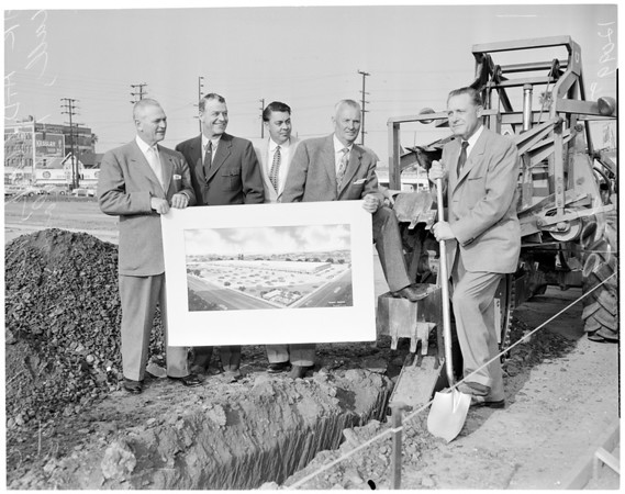Ground breaking for new shopping center at Western and Venice (Drawing), 1957