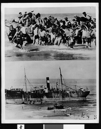 "Jewish refugees who ""crashed"" Palestine from a beached ship, 1939"