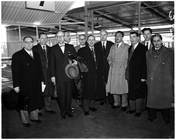 10 NATO delegates arrive in L.A. airport for 3 days visit, 1958