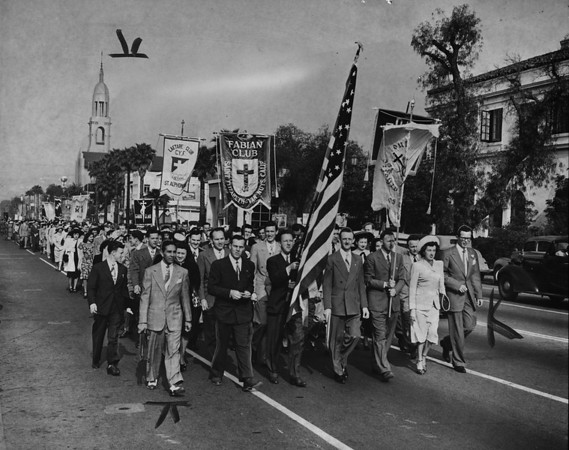 70 clubs of the Los Angeles area Catholic Youth Organization parade up Sunset Blvd., 1948