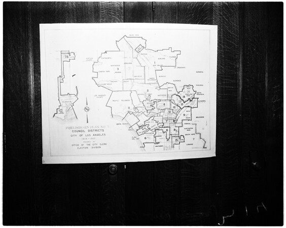 Map of proposed districts for City council, 1956